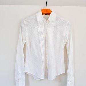 Burberry white tuxedo style button down